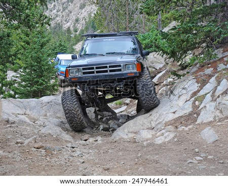 ALAMOSA - COLORADO - CIRCA JULY 2011. Known as among the roughest Four Wheel Drive roads in the country, the Lake Como Road in the Sangre de Cristo Mountains will test the toughest 4x4 vehicle. - stock photo