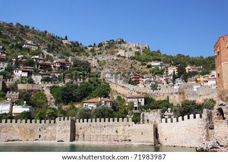 Alanya curtain wall Turkey Asia - stock photo