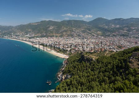 Alanya - the beach of Cleopatra .  Alanya is one of most popular seaside resorts in Turkey - stock photo