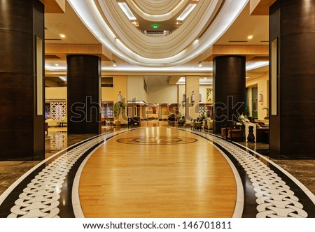 ALANYA, TURKEY - JULY 14: Hall of the hotel Vikingen Quality Resort. Hotel has 450 rooms and 13,000 square meters area on July 14, 2013 in Alanya, Turkey - stock photo