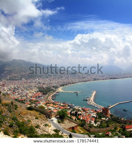 Alanya Turkey landscape - view from fortress - stock photo