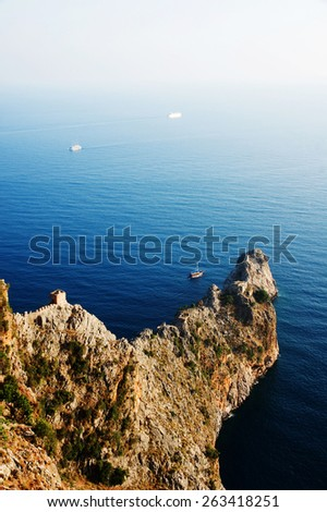 Alanya, Turkey. View on the rock cape from the fortress - stock photo