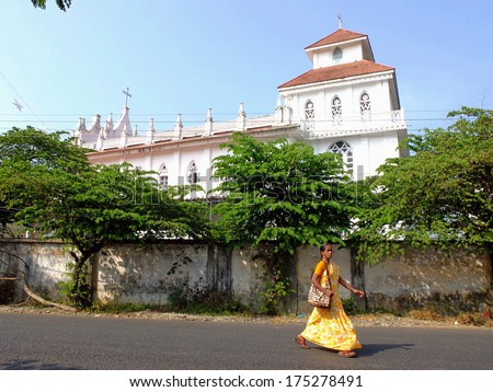 ALAPPUZHA, INDIA - DECEMBER 30, 2013: St. Thomas orthodox church. Christianity is the 3rd largest religion in India with 25 million mainly Catholic followers. - stock photo