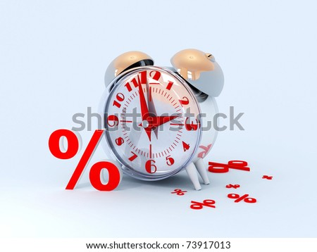 Alarm and percents. - stock photo