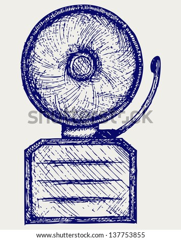 Alarm bell. Doodle style. Raster version - stock photo
