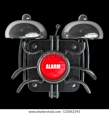 alarm bell isolated on black background. High resolution 3d render - stock photo