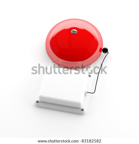 Alarm bell isolated on white background - 3d model - stock photo