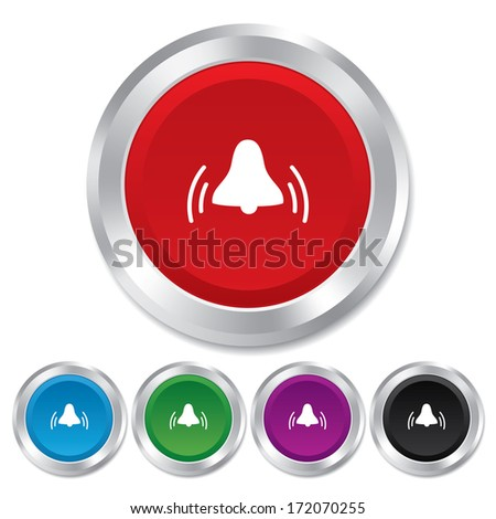 Alarm bell sign icon. Wake up alarm symbol. Round metallic buttons.