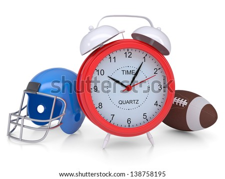 Alarm clock, a football helmet and ball. Isolated render on a white background