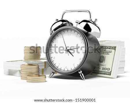 Alarm clock and money - stock photo