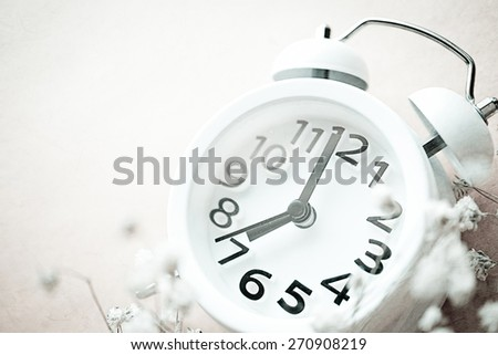 alarm clock and weed flowers in vintage color style
