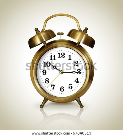Alarm clock, antique gold - stock photo