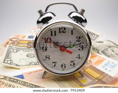 alarm clock both monetary denominations  euro and dollars, close up
