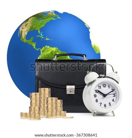 Alarm clock,  briefcase, coins , earth isolated  - stock photo