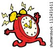 alarm clock cartoon character - stock vector
