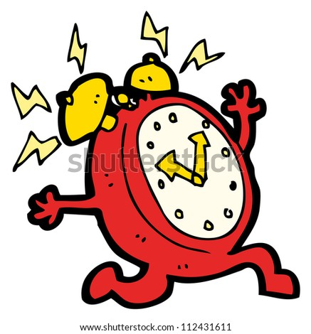 alarm clock cartoon character - stock photo