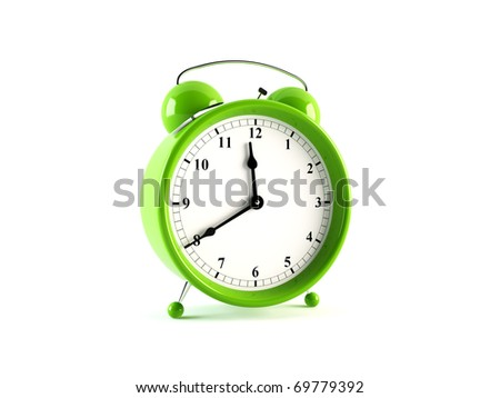 Alarm clock. 3D rendering of a stylish alarm clock isolated on white - stock photo