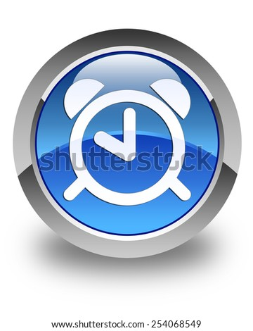 Alarm clock icon glossy blue round button - stock photo