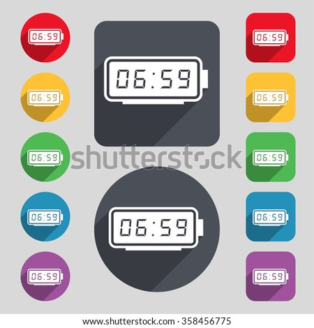 alarm clock icon sign. A set of 12 colored buttons and a long shadow. Flat design. illustration - stock photo