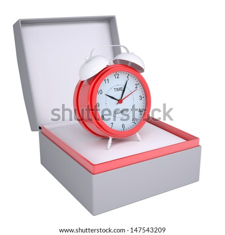 Alarm clock in open gift box. 3d render isolated on white background - stock photo