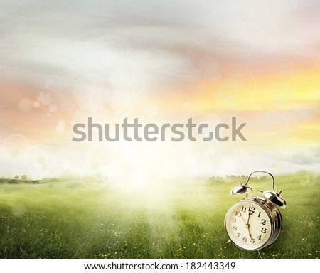 Alarm clock in sunlit spring field - stock photo