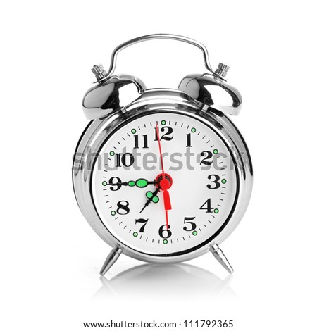 Alarm clock isolated on a white background - stock photo