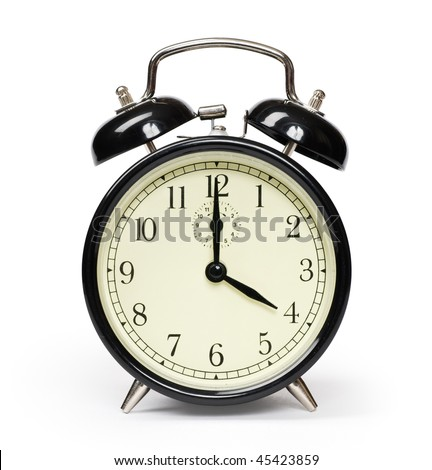 Alarm clock isolated on white - stock photo