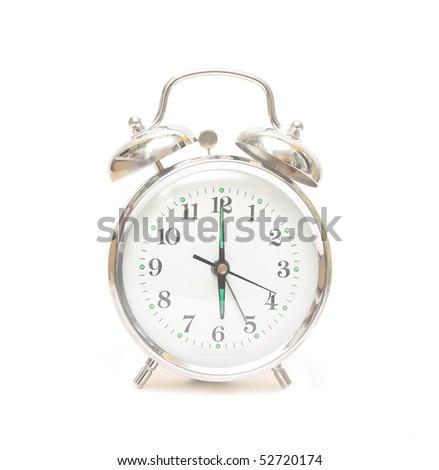 Alarm Clock Isolated on White - stock photo