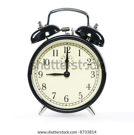 Alarm Clock, isolated on white - stock photo