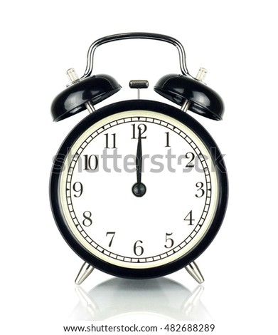 Alarm Clock isolated on white, in black and white, showing twelve o'clock.
