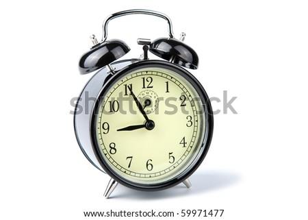 alarm clock isolated over white - stock photo