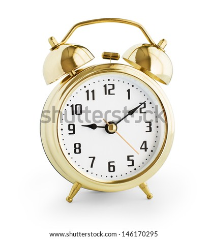 Alarm clock made from gold metal isolated with clipping path without shadows included - stock photo