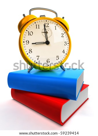 Alarm clock on blue and red books - stock photo