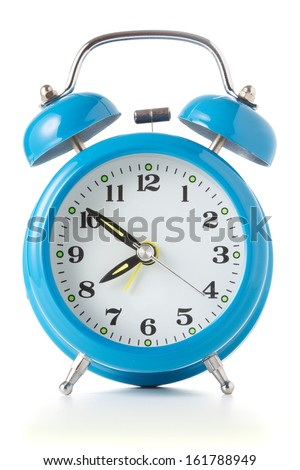 Alarm clock on white background - stock photo