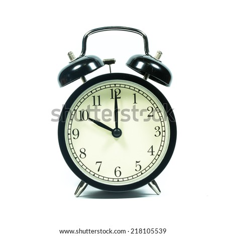Alarm clock on white background. At 10 .