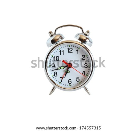 Alarm clock on white background. Isolated with clipping path