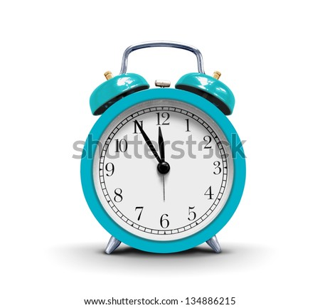 Alarm clock over white - stock photo