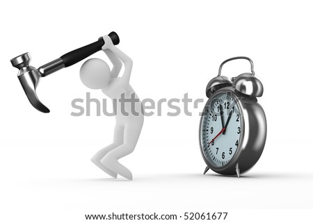 Alarm clock repair. Isolated 3D image on white - stock photo