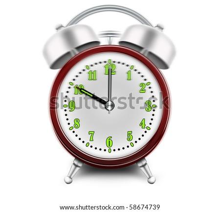 Alarm clock ringing at 10 o'clock - stock photo