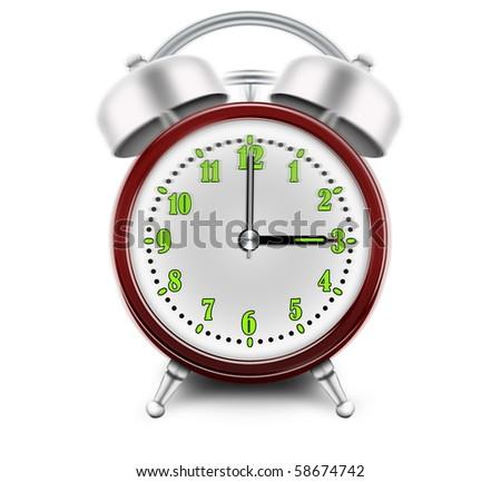 Alarm clock ringing at 3 o'clock - stock photo