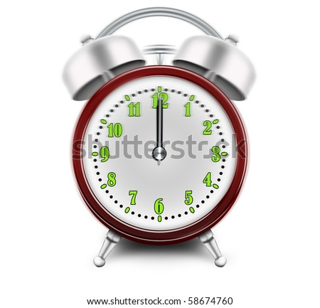 Alarm clock ringing at 12 o'clock - stock photo