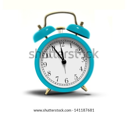 Alarm clock ringing over white - stock photo