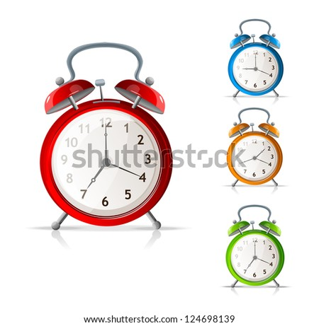 alarm clock set isolated on white background - stock photo