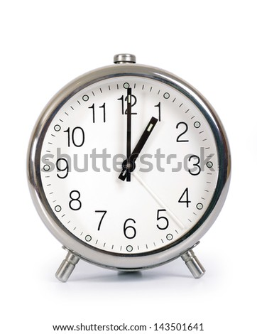 Alarm Clock, showing one o'clock - stock photo