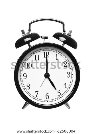Alarm clock shows five o`clock isolated on white background