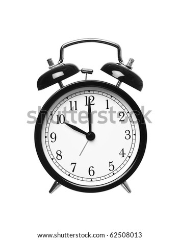 Alarm clock shows ten o`clock isolated on white background