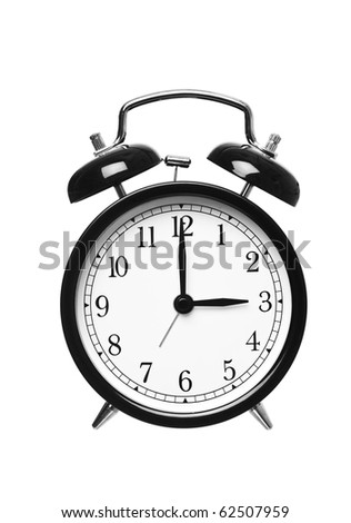 Alarm clock shows Three o`clock isolated on white background