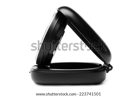 Alarm clock, side view, on white background - stock photo