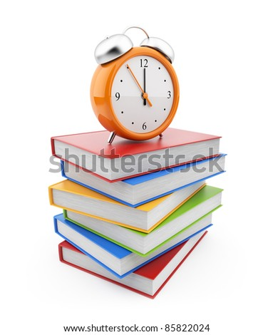 Alarm clock standing on stack of books. 3D Isolated on white - stock photo