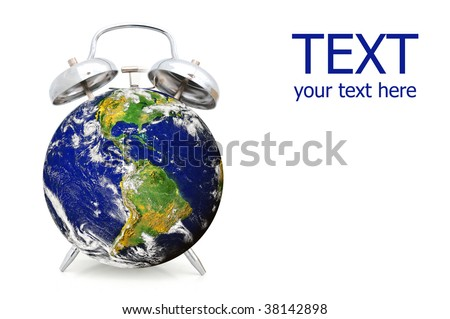 Alarm clock wake-up call for the earth: concept for environmental issues - stock photo